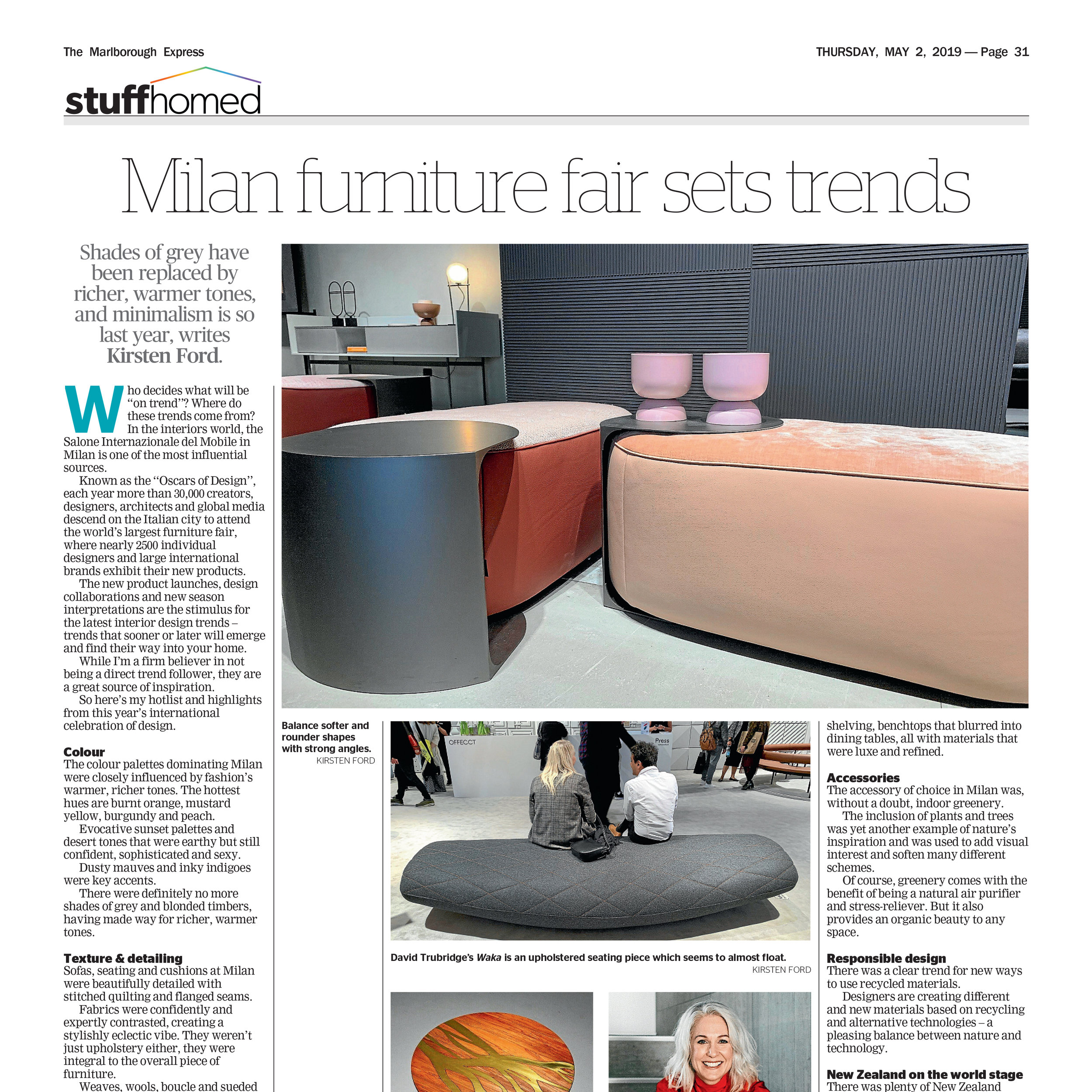 Kirsten Ford Design shared our Milan tips nationwide with regional newspapers from Manawatu Property Weekly to Marlborough Express. Click to read more…