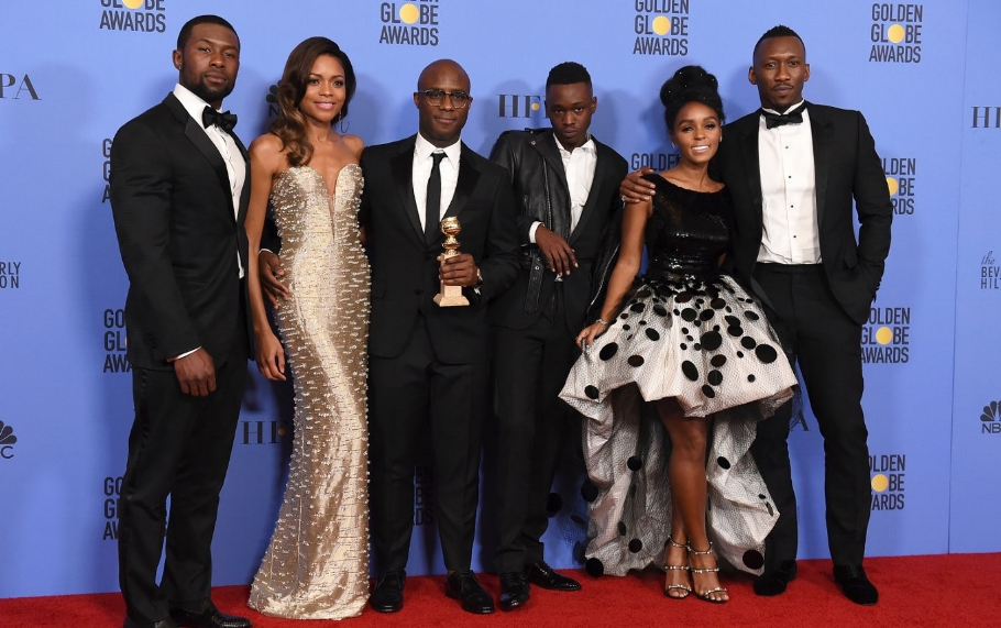 """The """"Moonlight"""" crew at the Globes. Spoiler: we think it's going to be nominated for stuff."""