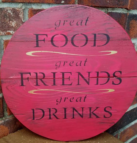 """K4: food friends drinks (14"""" round)"""