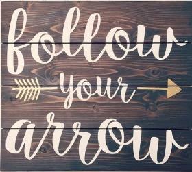 """X18: follow your arrow (14"""" x 14"""")"""
