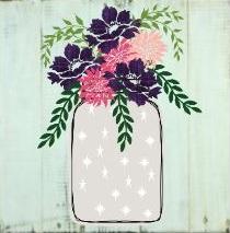 "TL6: Mason Jar flowers (14"" x 14"")"