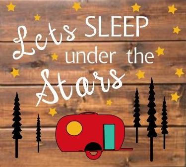 "TL5: Lets sleep under -camper (14"" x 14"")"