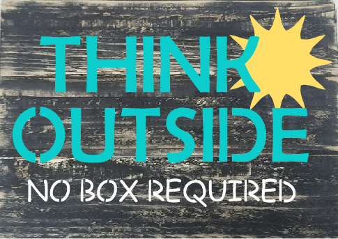 """T21: think outside the box (10"""" x 18"""")"""