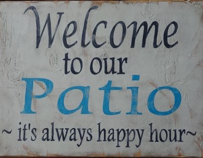 """T22: Welcome to our patio (14"""" x 14"""")"""