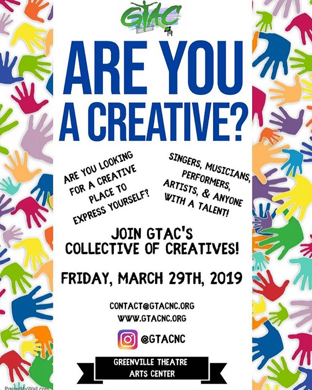 OPEN HOUSE @ 6pm TONIGHT  Are you a creative? Do you have a gift you want to use more but not quite sure how? Need a space to rent? Planning an event but not quite sure about a place? Let's create and work together ‼️ ❌COME OUT TO OUR OPEN HOUSE TONIGHT AT 6PM ❌  Singers‼️ Musicians‼️ Dancers‼️Performers‼️ Artist‼️ Designers ‼️ Comedians ‼️ Writers ‼️CREATIVES‼️The Greenville Theatre Arts Center is looking to put together a URBAN COLLECTIVE of individuals who's willing to push boundaries and change the narrative of our culture.  Someone who's willing to break creative barriers and inspire others through the arts.  Local Business? Network!! Bring your business cards and be in a Collective space with beautiful Creatives  COME OUT AND SEE US! 🚨 THIS FRIDAY! March 29th  Add us on IG: @gtacnc  Fill out the form on our website for more information ❗️ www.gtacnc.org