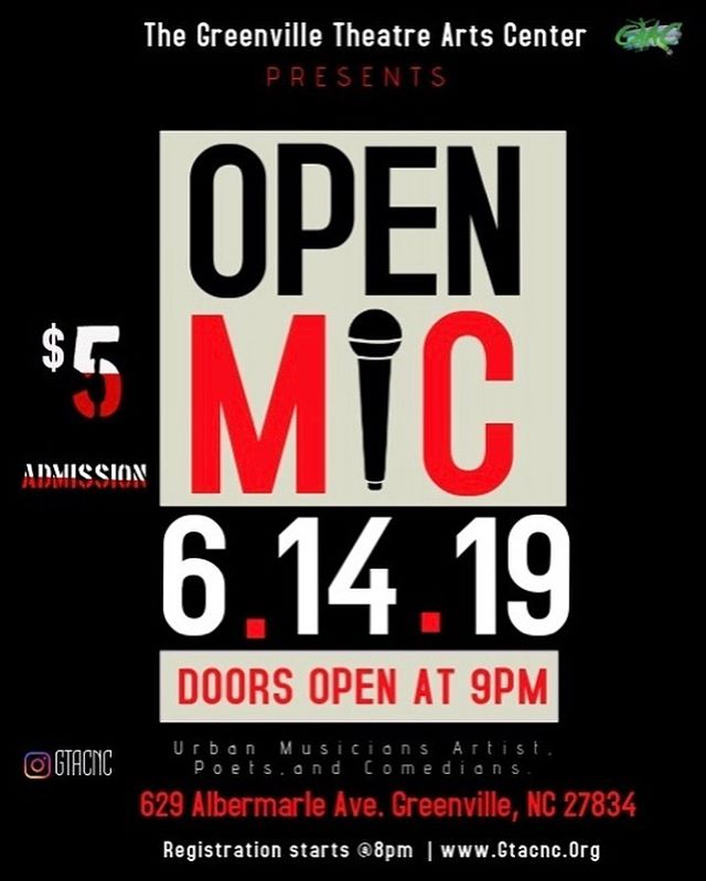 🚨Calling all Urban artist, dancers, poets, comedians and CREATIVES! The Greenville Theatre Arts center is hosting its first Open Mic Night! Let's get ready to support our people and be and representation of change we want to see! ARTS MATTER! ✊🏿✊🏾✊🏽✊🏼 Registration is free for all performers!  Registration starts at 8pm  Admission for the public will be $5  Refreshments will be available.  #like #Share #greenville #BlackOwnedVenue #PuttingBackWhatWeLost #BlackArts #Love