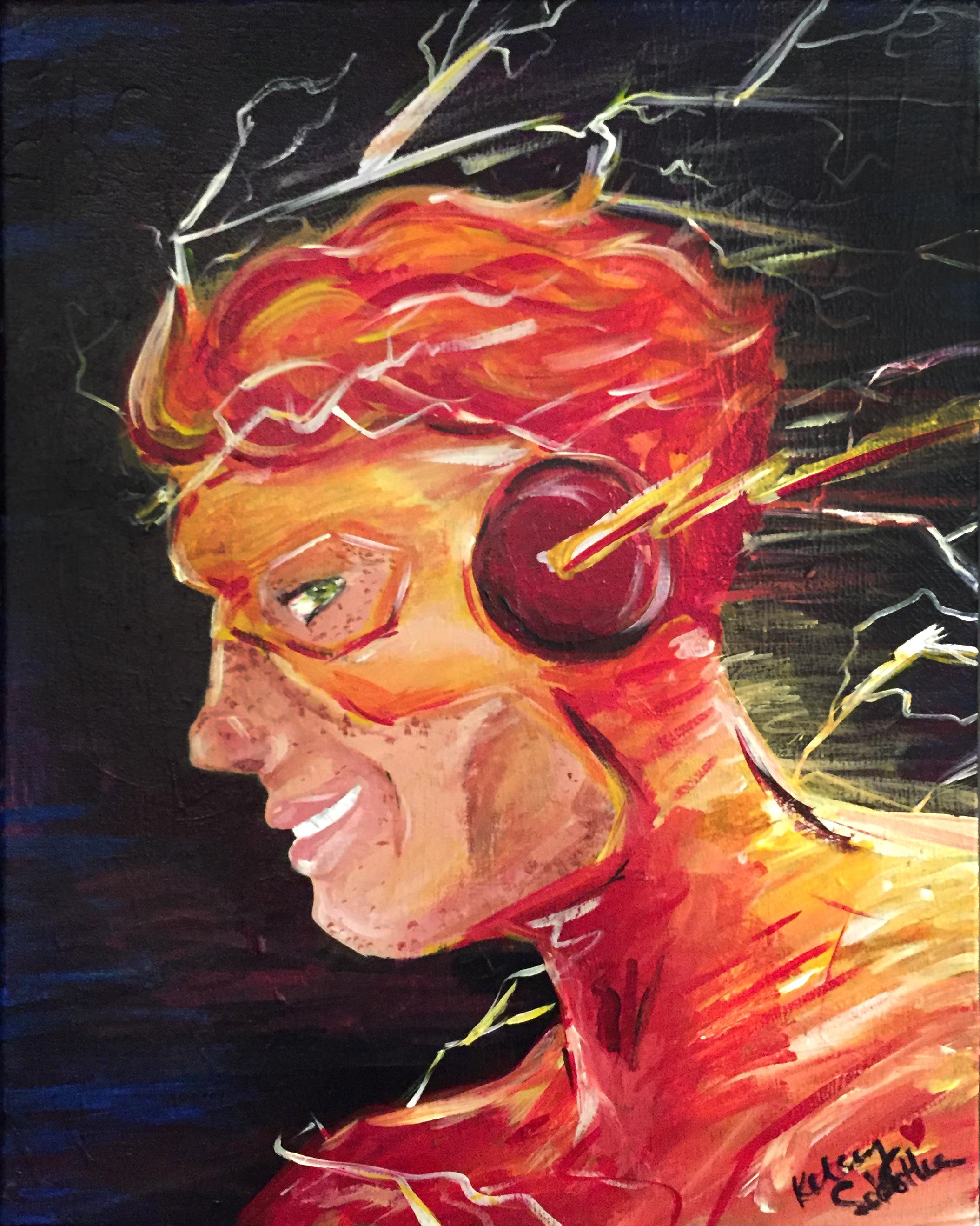 "Kid Flash  16""x20"" acrylic on canvas."