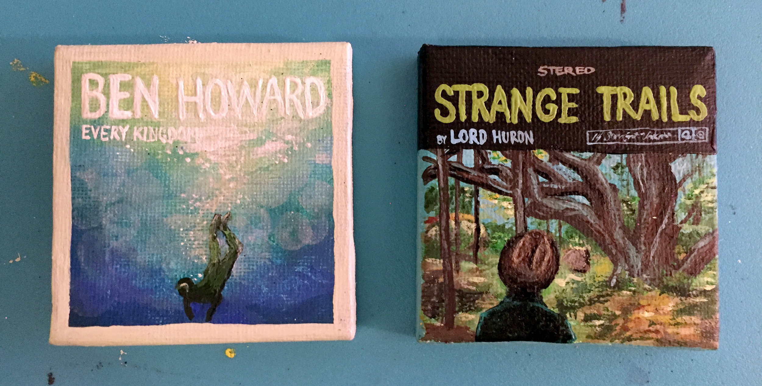 """Miniature Ben Howard and Lord Huron album covers  2""""x2"""" acrylic on canvas."""
