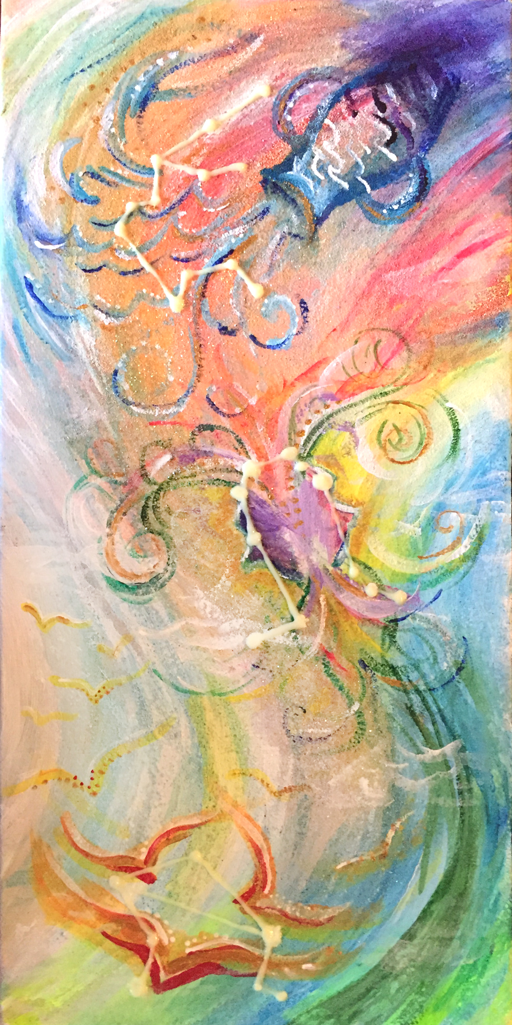 "Air   6""x12"" acrylic and glitter on canvas."