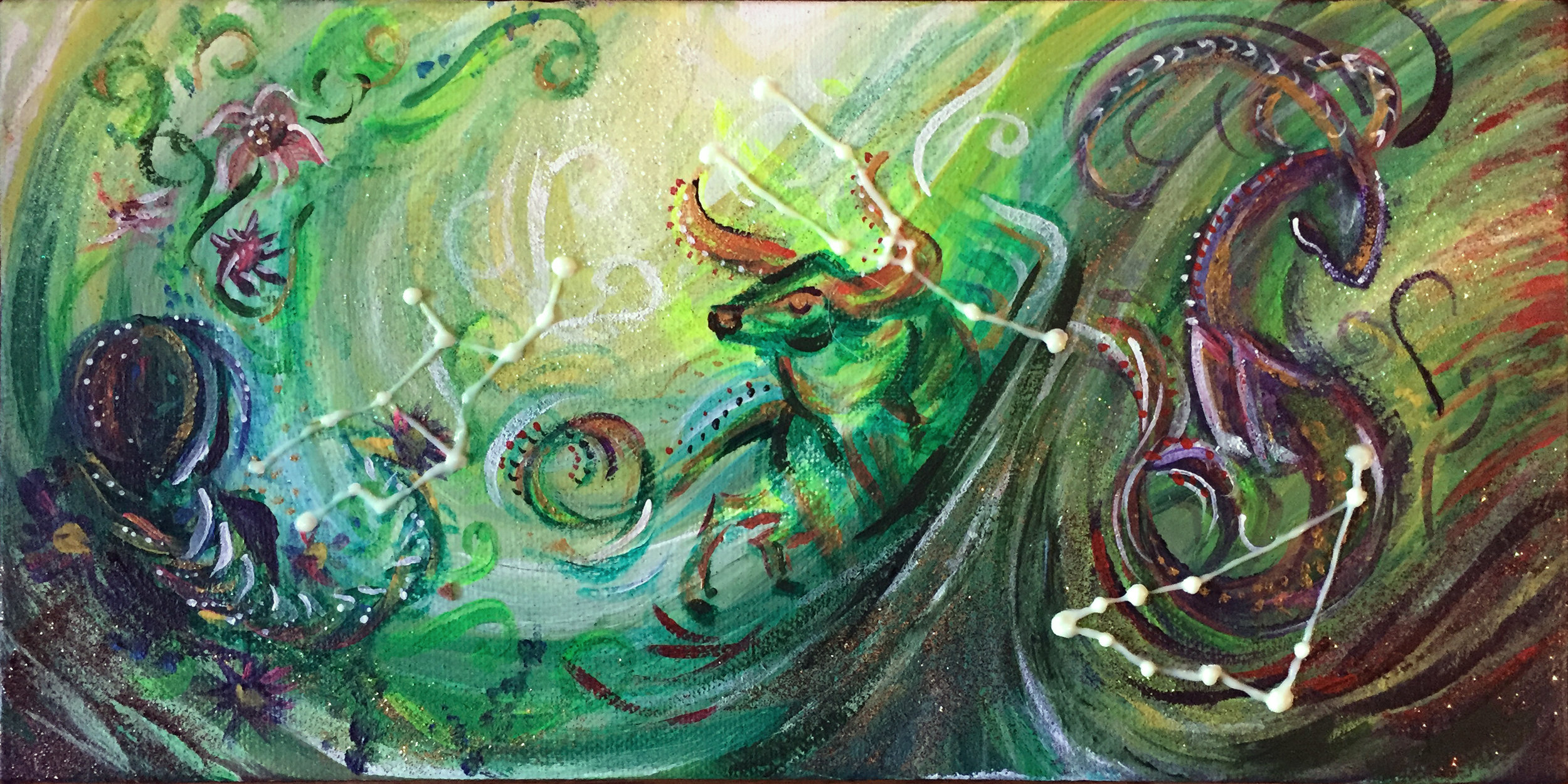 "Earth   12""x6"" acrylic and glitter on canvas."