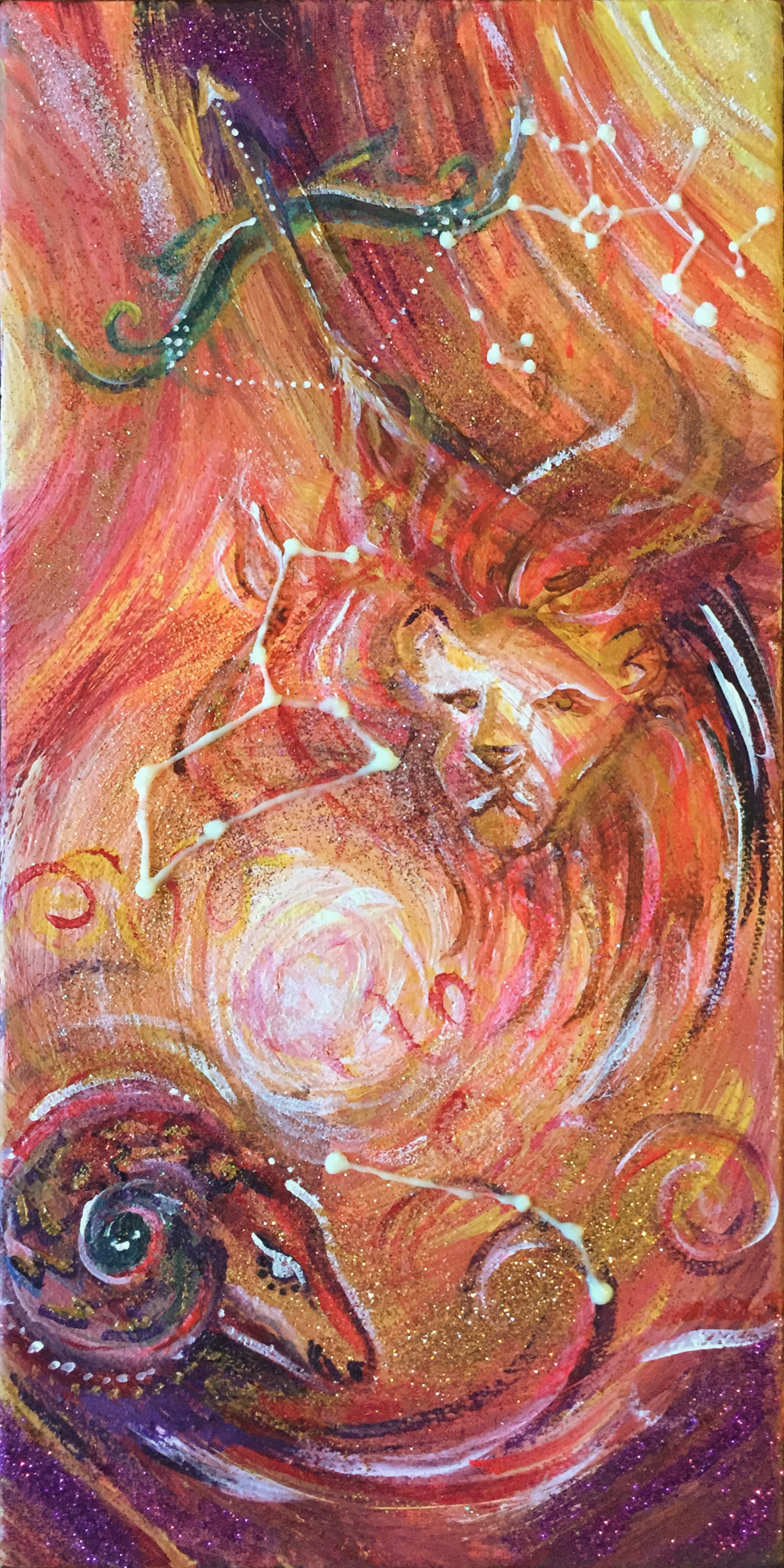"""Fire   6""""x12"""" acrylic and glitter on canvas."""