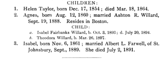 Footnote in history: Albert Farwell appears in Gov. Horace Fairbanks' family tree as the husband of Horace's daughter, Isabel. (Screenshot from Fairbanks, Lorenzo Sayles. Genealogy of the Fairbanks Family in America, 1633-1897. Boston, MA: American Printing and Engraving Company, 1897.)