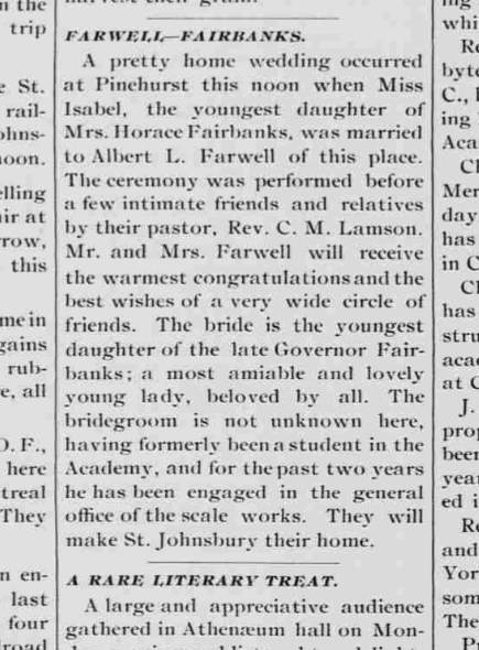 "( St. Johnsbury Caledonian  (St. Johnsbury, VT). ""Farwell-Fairbanks."" September 5, 1889.)"