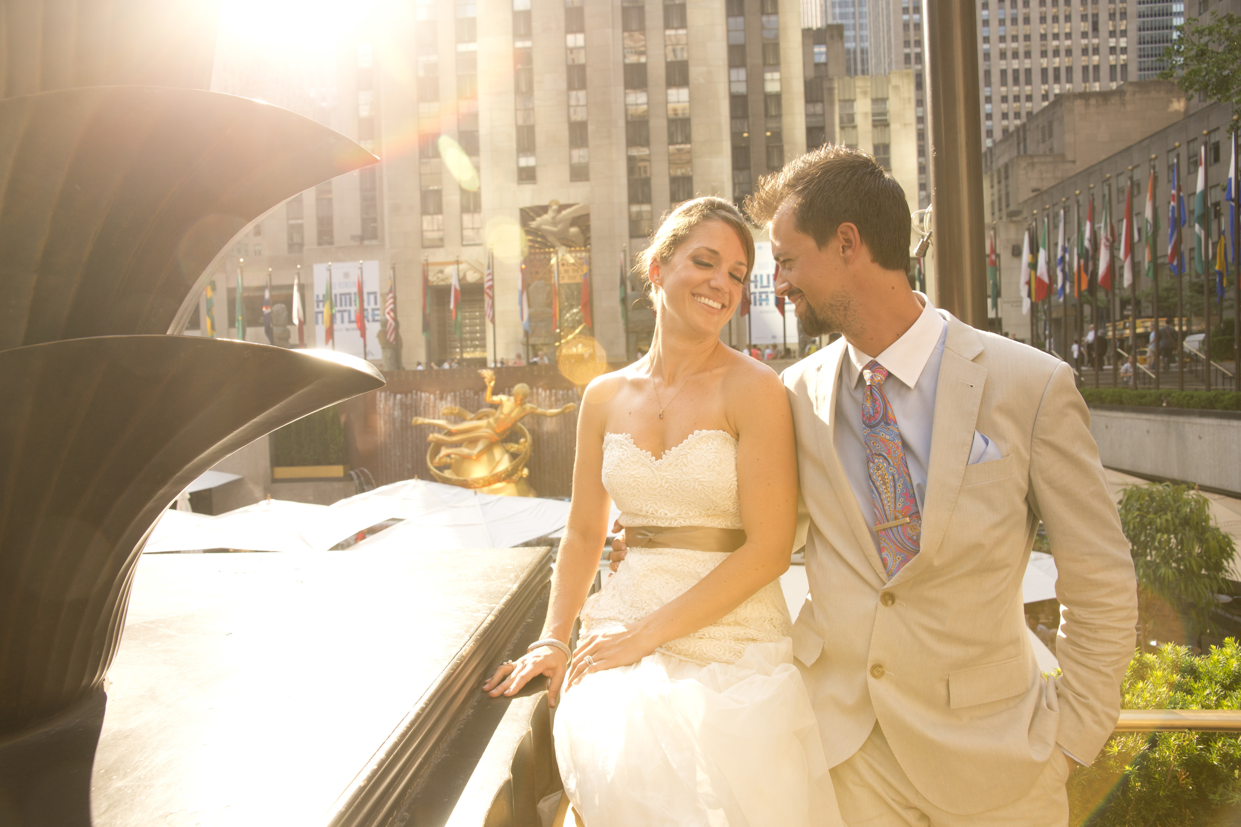 Bride and Groom in Rockafeller Center