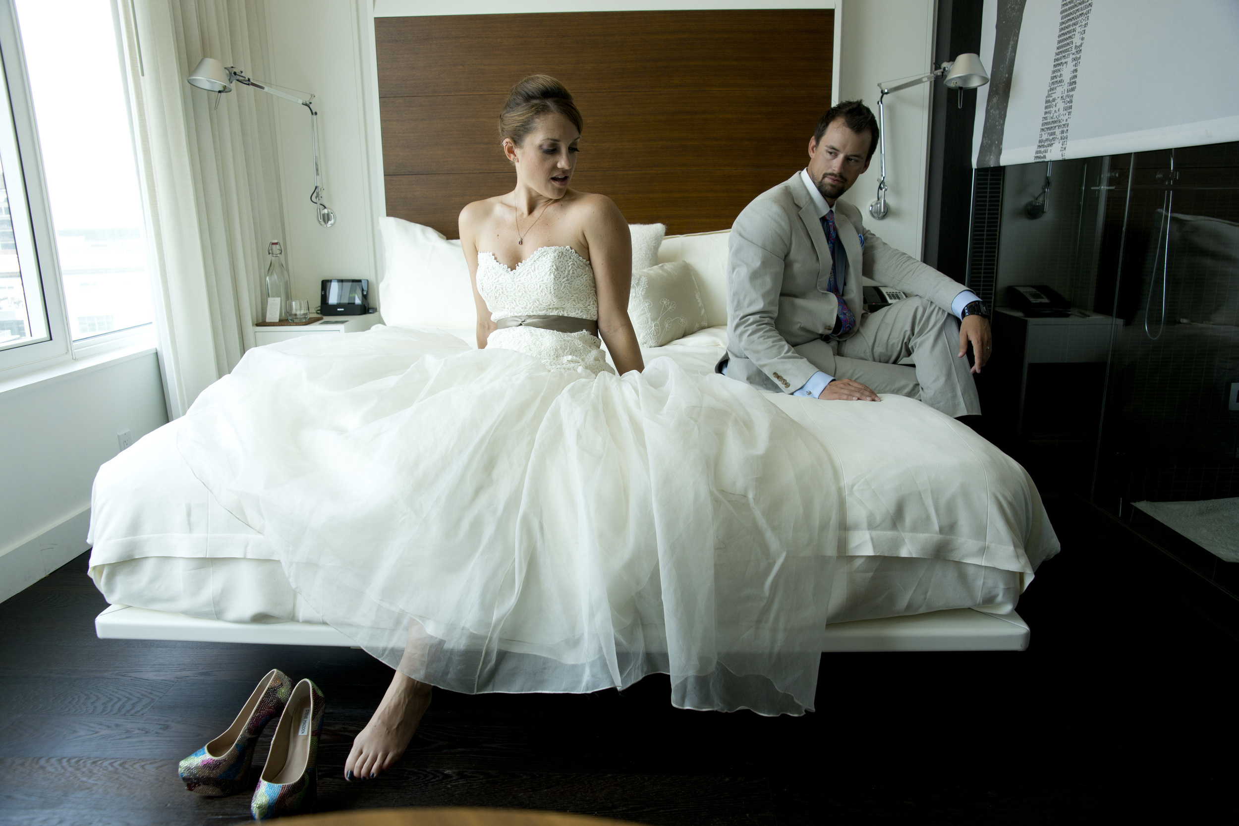 Bride and Groom in NYC Hotel