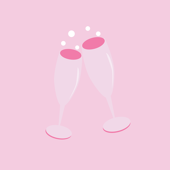 Two pink champagne glasses on a pink background. From Pixabay.