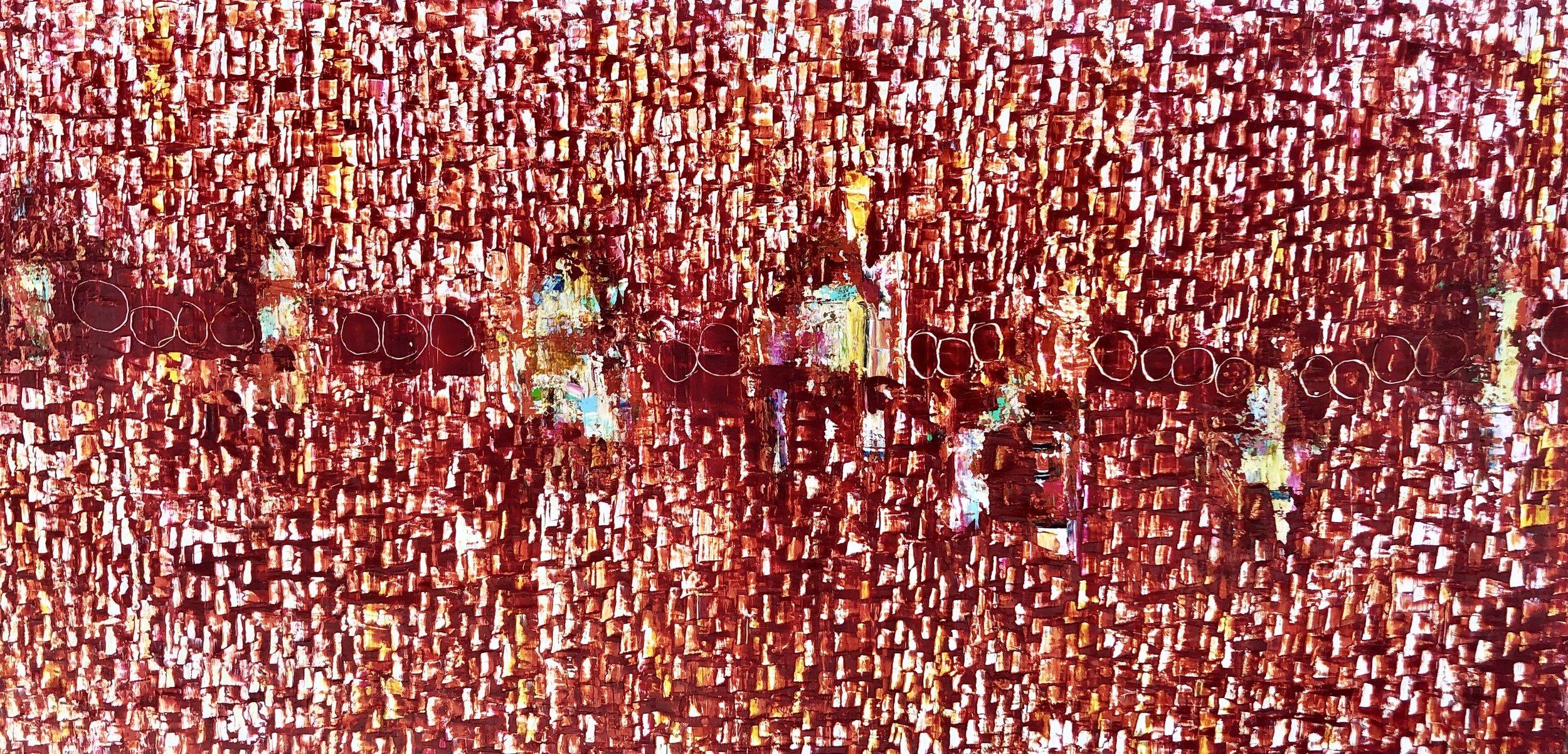"'It's raining Crimson"" 36"" x 72"" x 2.5"", oil on canvas"