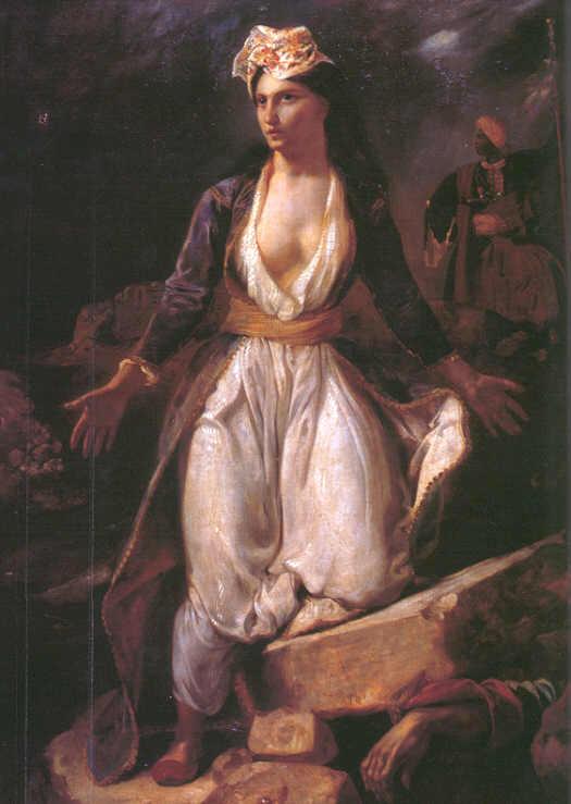 Eugène Delacroix,  Greece on the Ruins of Missolonghi (1826).