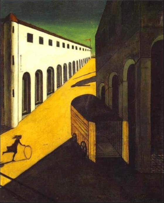 Giorgio de Chirico, Mystery and Melancholy of a Street (1914).