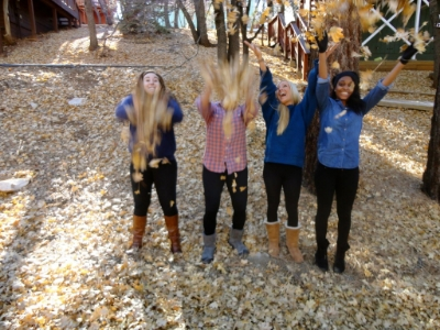 You deserve to be as happy in your life as I am here, throwing leaves in the air. Big Bear, CA