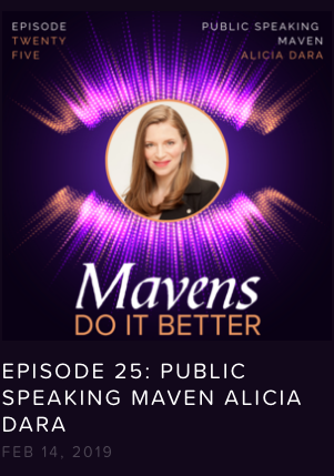 "Podcast Interview - Alicia talks to Heather Newman on her show, ""Creative Mavens"" about her work as a voice coach, how she trains women to speak up in every area of their lives, and the incident in high school that set her on the path to becoming an activist."