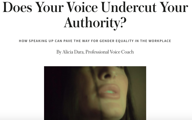 Guest Blog Post: CoveyClub.Com - Alicia gives some tips about how to push back against gender-based criticism of your voice, how to strengthen it for use in the workplace, and how to harness the power of your breath.