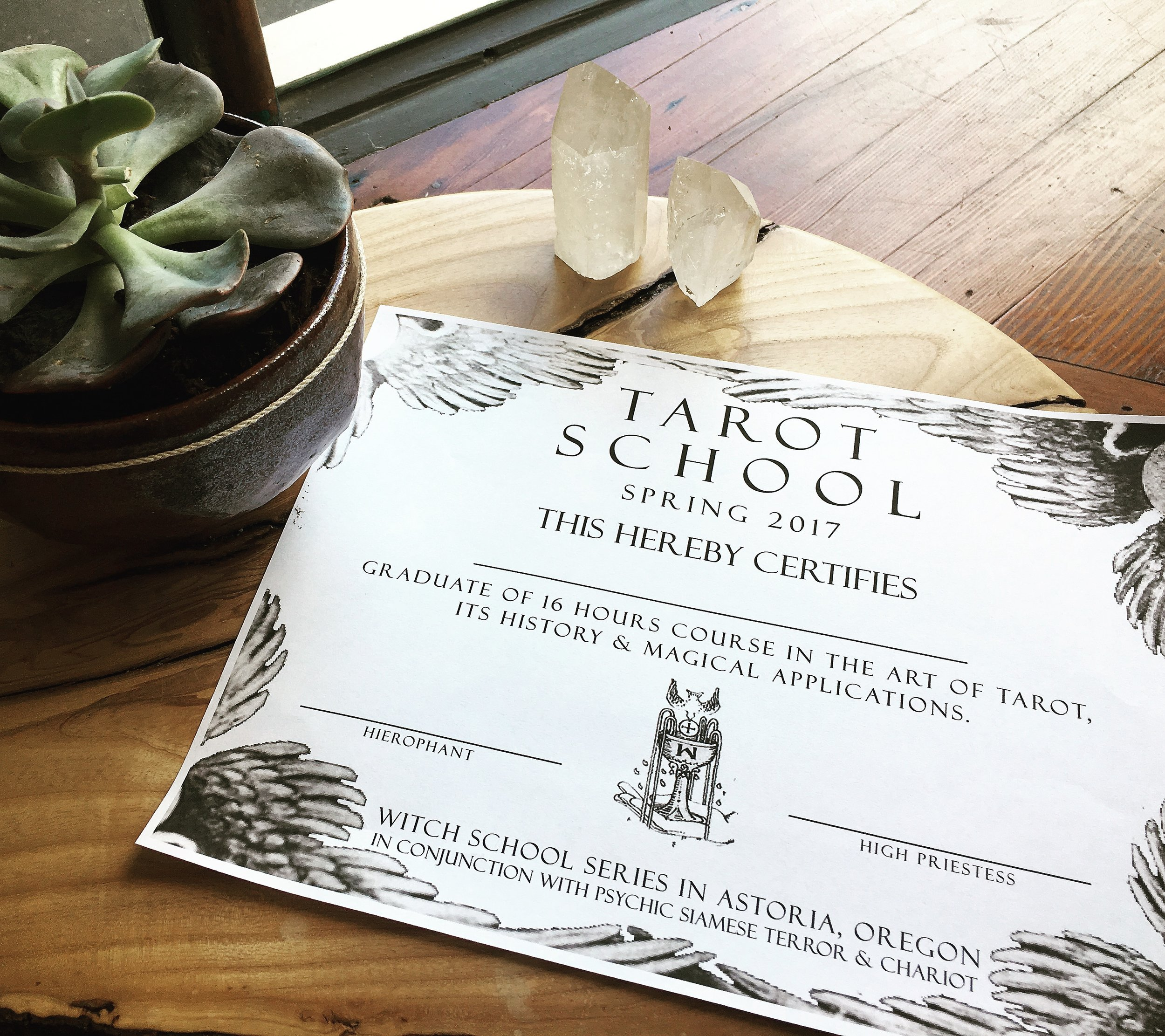 tarot school certificate