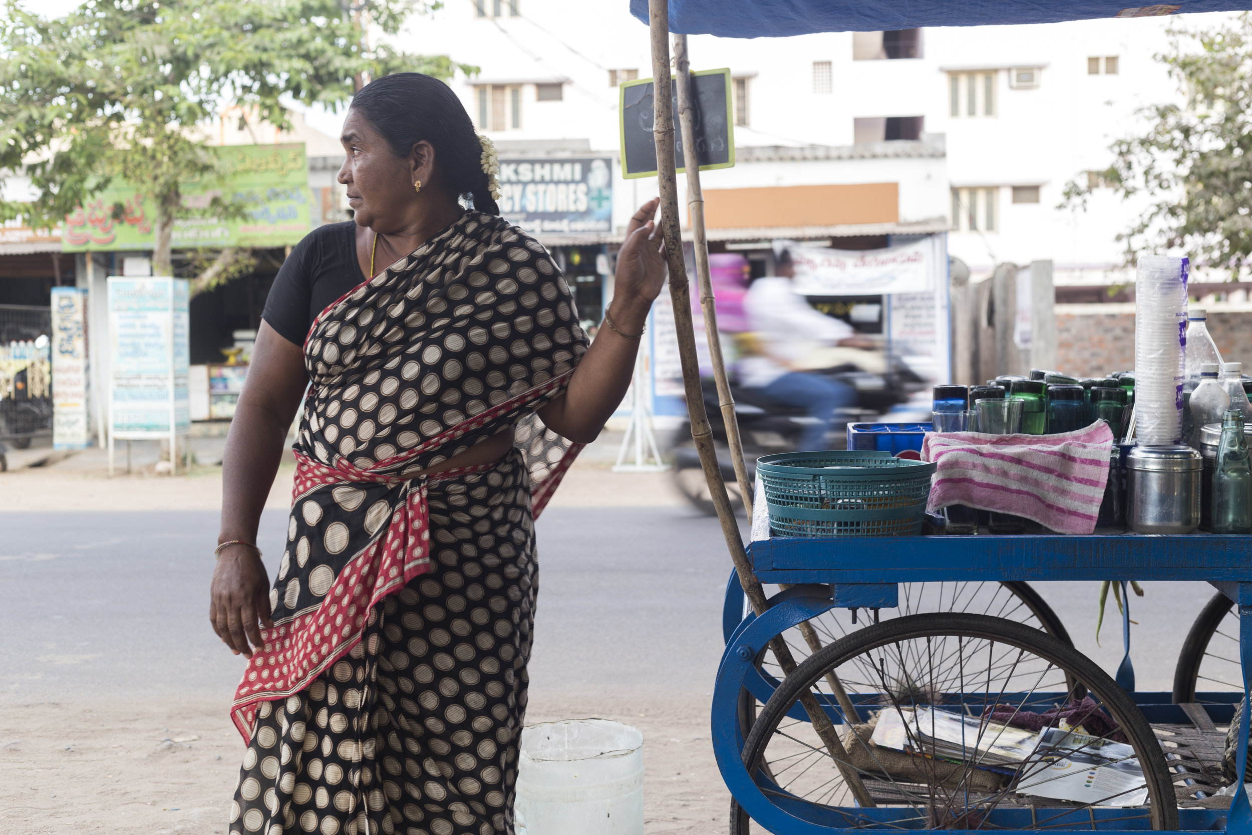 One of Aseefa's vendor, Baby, with her cart.