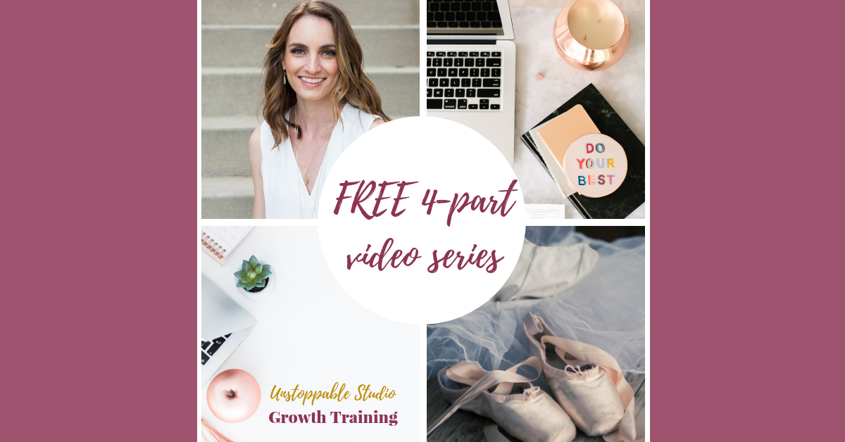 Hey studio owners! i invite you to grab my free unstoppable studio growth 4-part video series, where i'll share with you exactly how to attract more of your dream students on autopilot and retain them year after year. to make your studio unstoppable,  click here.