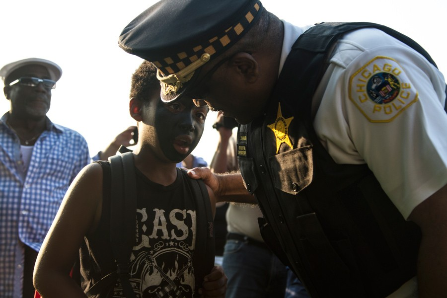 "Johnson and other CPD officials have said that going forward, community policing will no longer be an ""alternative"" strategy, but rather the department's guiding philosophy. (Maria Cardona/City Bureau)"