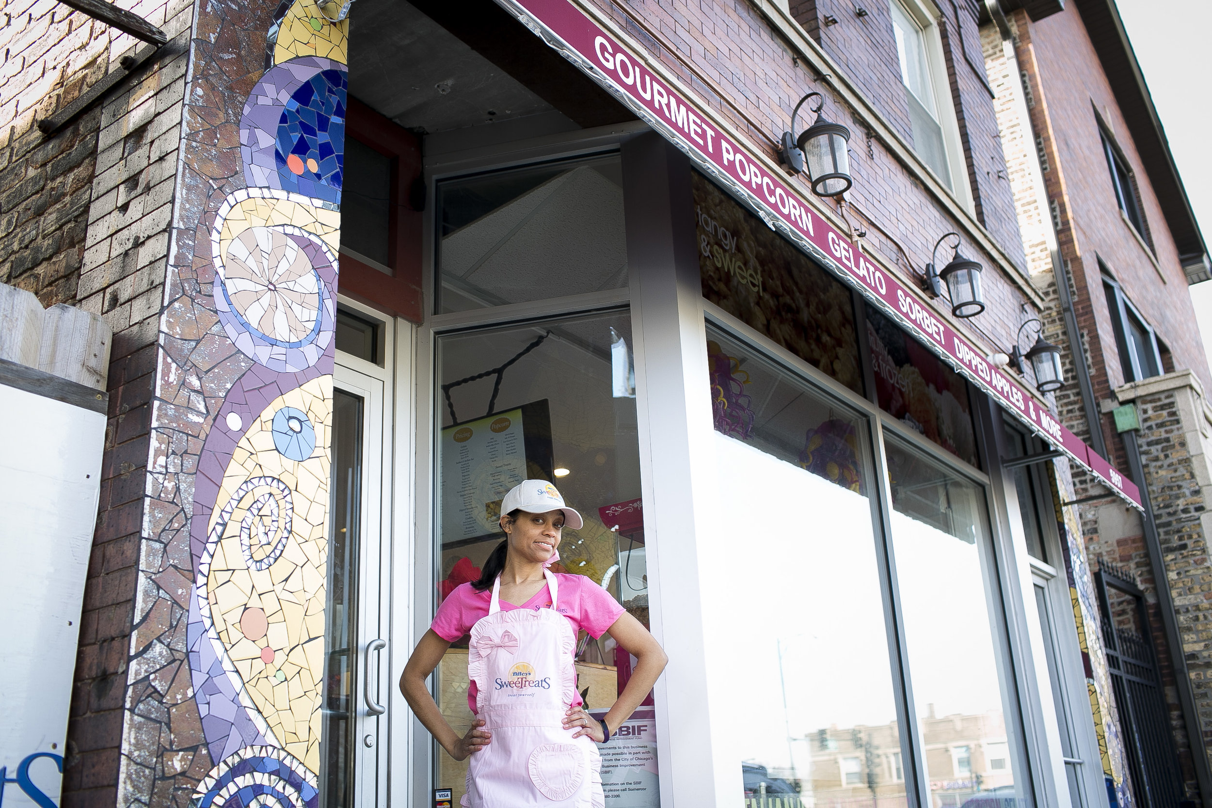 Layla Bitoy's is pictured outside her store, Bitoy's Sweet Treats, located on the ÒSoul City CorridorÓ on Chicago Ave., Tuesday, Feb. 14, 2017. (Photo by Michelle Kanaar | City Bureau)