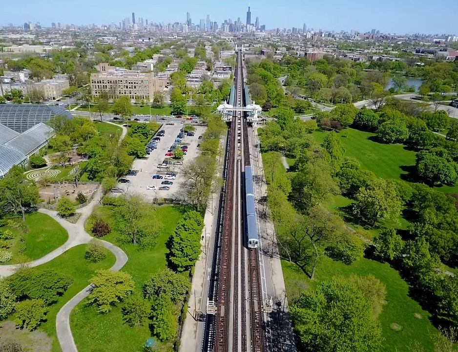 The view from a drone above Chicago's Green Line in Garfield Park.