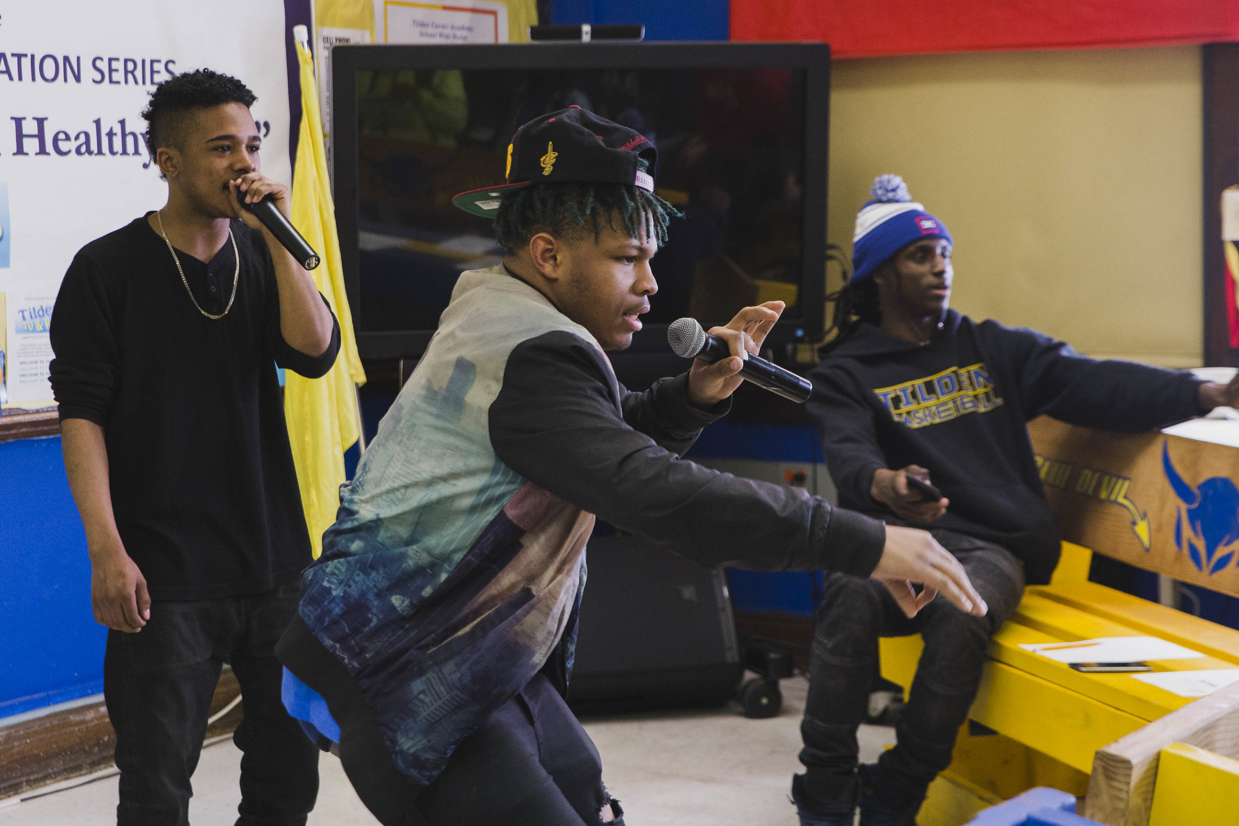 Shareef Peoples, a member of Tilden TV and Radio, performs his rap songs in front of his peers inside Finney's classroom. Photo: Pat Nabong