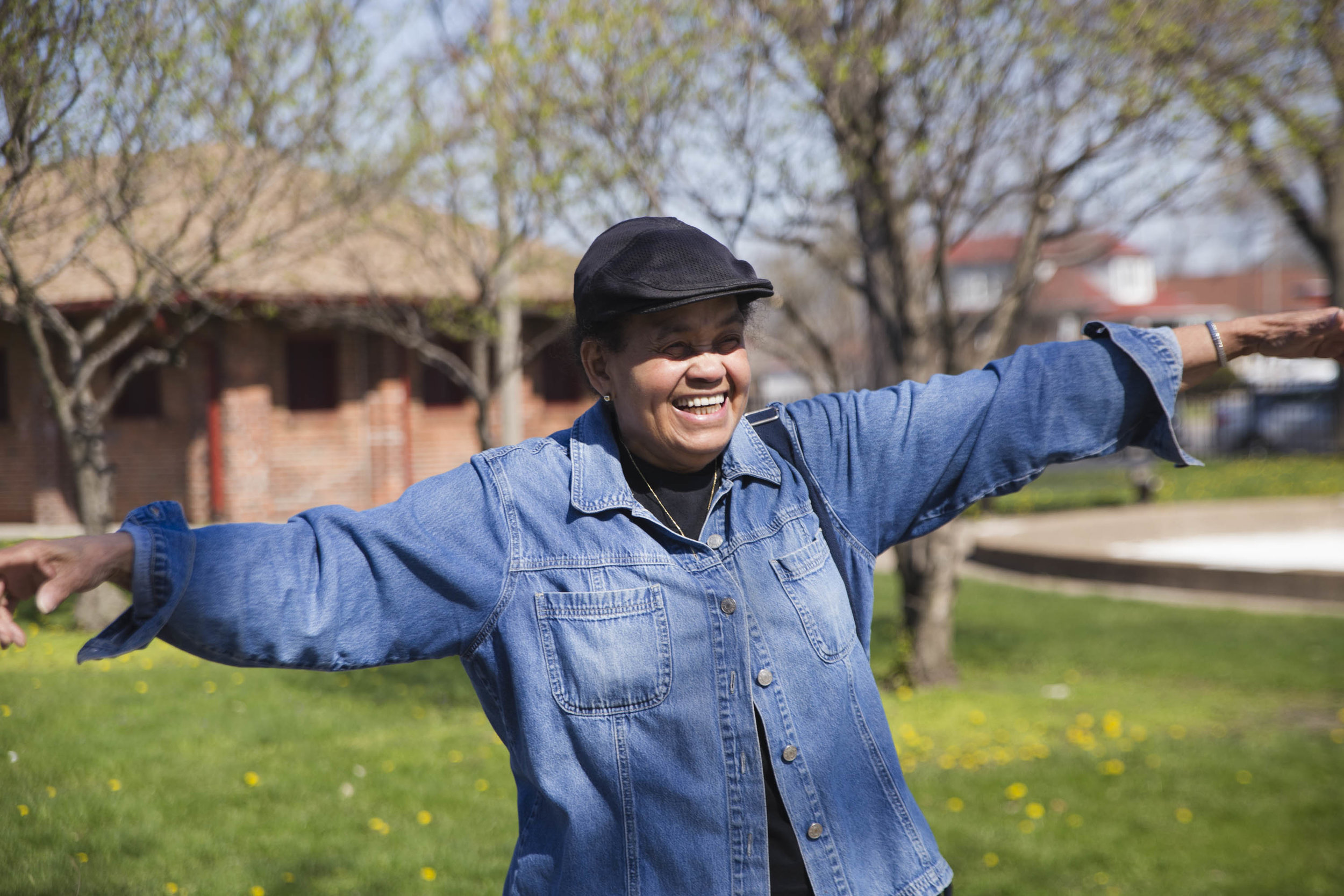 "Betty Griffin, 77, poses for a portrait. To her, aging on the South Side has been ""a very positive thing."" Griffin, who has lived in Morgan Park since 1969, loves yoga. ""We tend to limit ourselves once we get at a certain age group or something. I hear 'I'm old, I can't do that. I can't.' So I've never said anything like that. As a matter of fact, it opened up more avenues of what I realized I could do."""