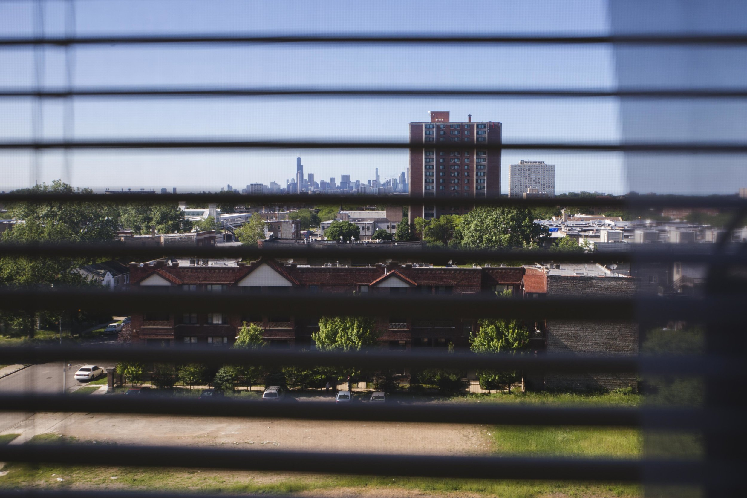 The view from Darnetta Donegan's apartment in a low-income senior building in Washington Park.