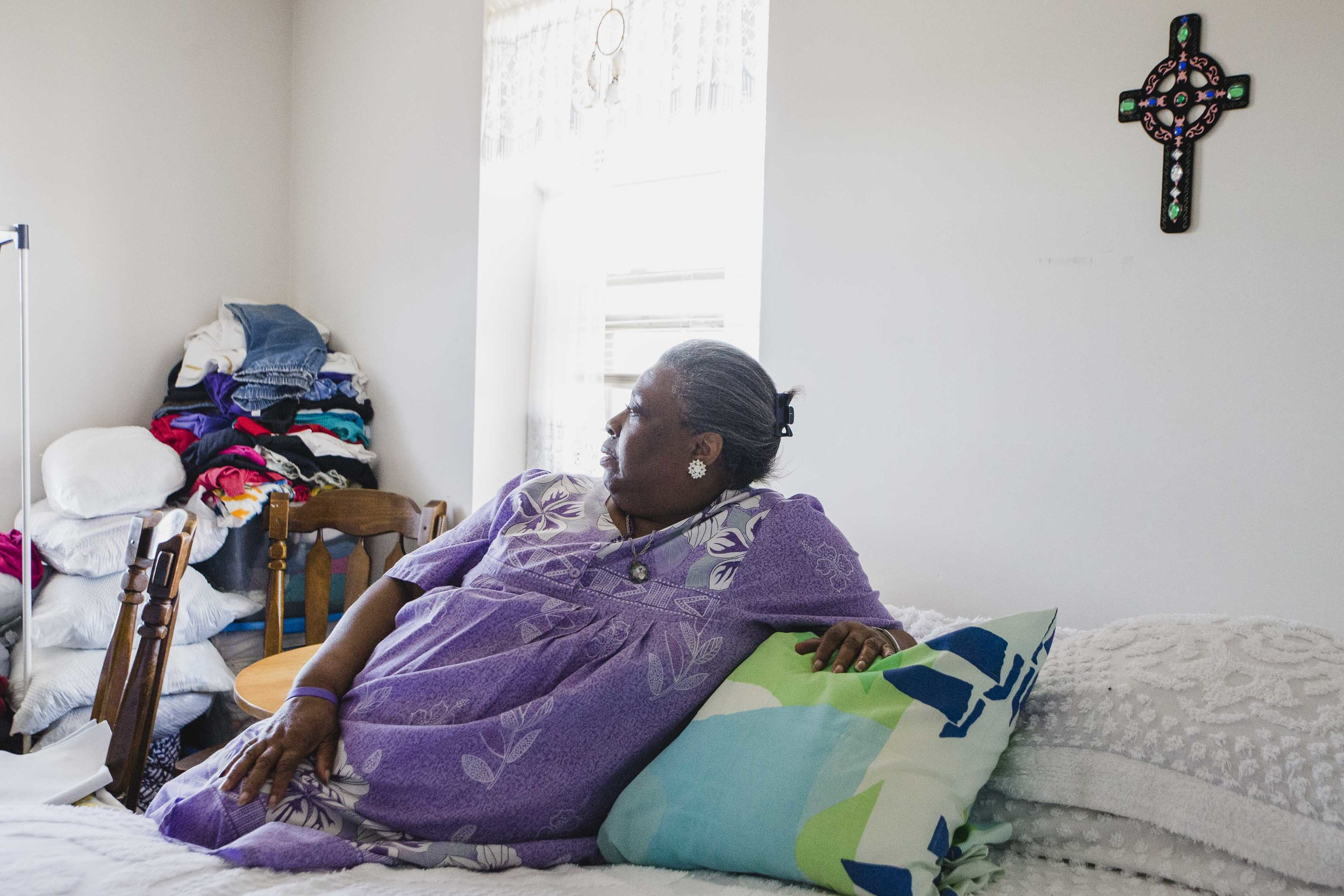 """I don't wanna get old,"" said Darnetta Donegan, 69, who lives alone in a senior building in Washington Park. ""When I see someone my age and they're getting around worse than I am, you know they're in a wheel chair or broken up really bad or mentally gone, that's when you think about it and feel bad about it…I used to take care of people that had all kinds of disorders, but now I'm living here with it…After a while it gets a little depressing. I stay in prayer quite a bit."""