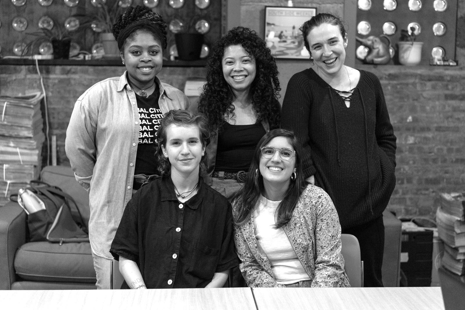 Team Maternal Health, clockwise from top left: Janaya Greene, Camille Powell, Sarah Conway, Caroline Olsen and Emeline Posner [Photo: Max Herman/City Bureau]