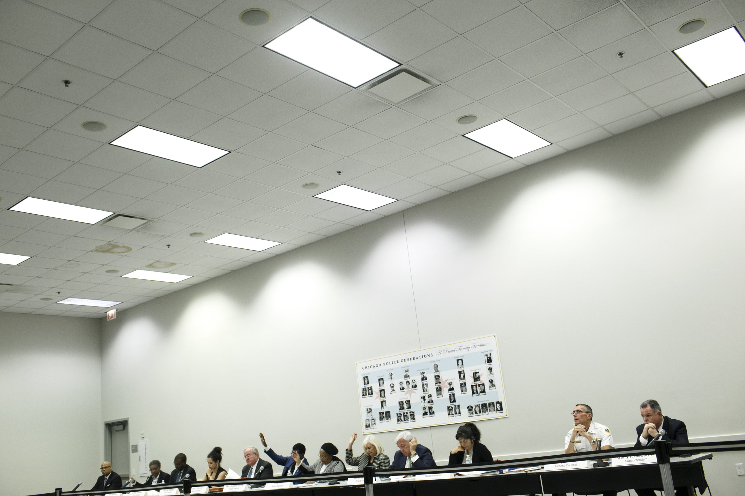 The Board votes during the November Police Board Meeting at the Chicago Public Safety Headquarters on November 19, 2015. Photo by Jonathan Gibby