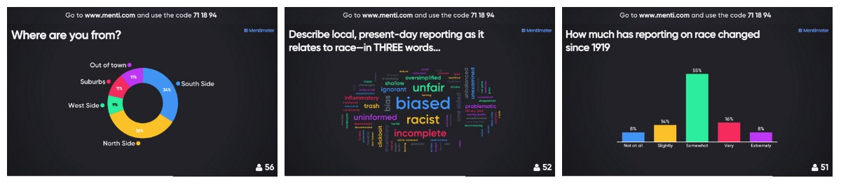 Public Newsroom attendees were able to interact with City Bureau's event in real time using Mentimeter.