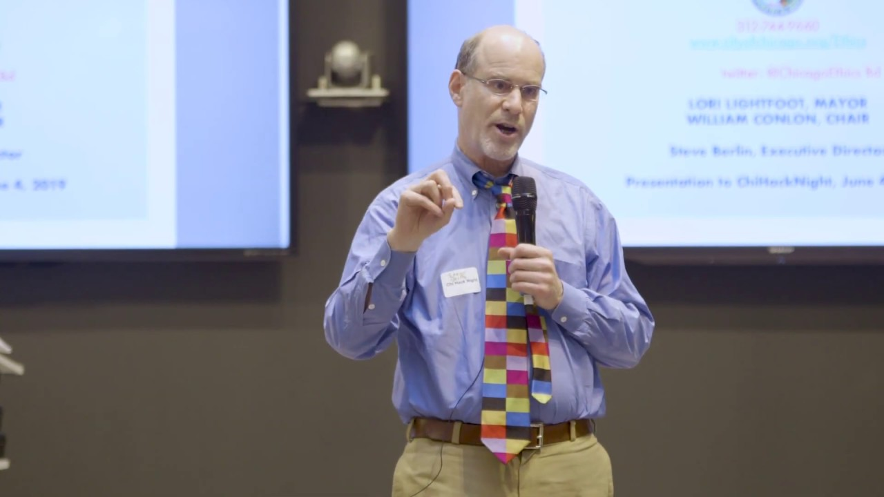 Chicago Board of Ethics Executive Director Steve Berlin speaks at ChiHackNight June 4, 2019. (Photo: Courtesy of ChiHackNight)