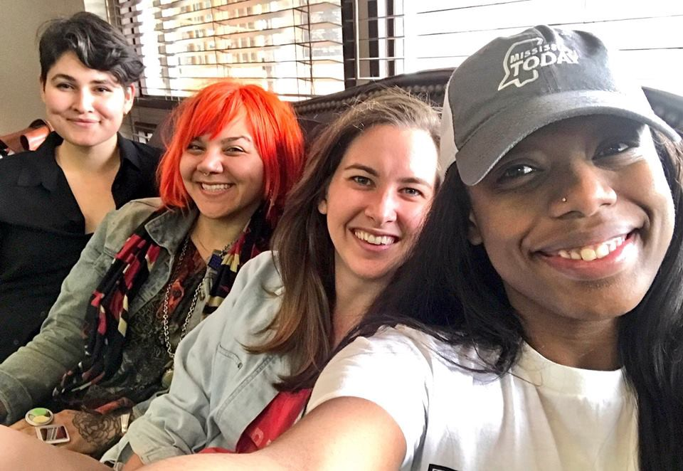 Prepping for our first Public Newsroom in the Delta. (From left to right: Ellie Mejia and Andrea Hart of City Bureau. Kelsey Davis and Aallyah Wright of  Mississippi Today )