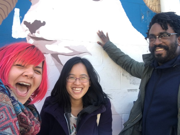 The author (center) with City Bureau cofounders Andrea Hart and Darryl Holliday on a trip to Detroit to work on the Documenters program.