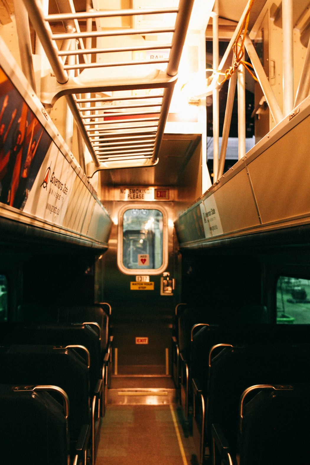 This is the interior of one of the newer cars on the Metra Electric line.