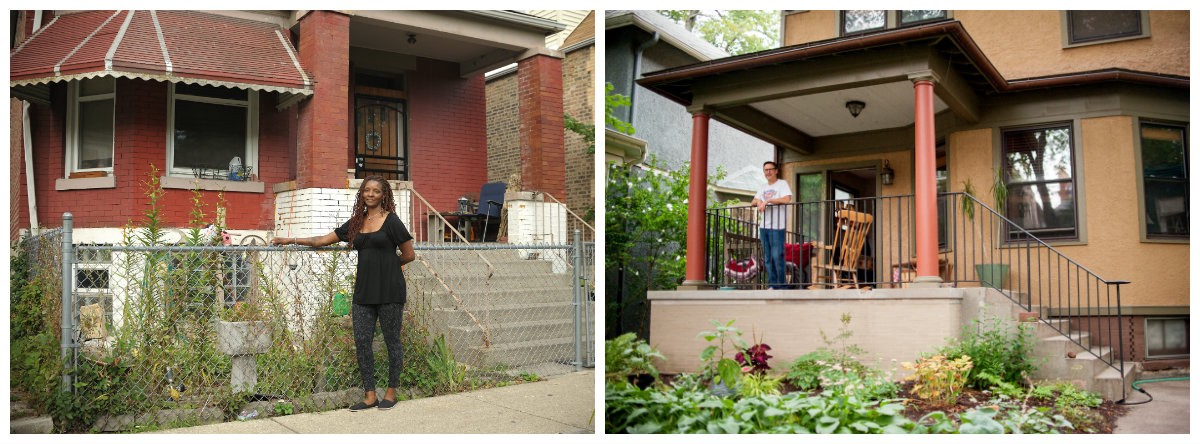 The project grew to include residents of North and South Side neighborhoods, meeting each other, and eventually taking photographs at each other's home. (left) Nanette Tucker stands in front of her Englewood home. (right) Wade Wilson lives in Edgewater. (Photos: Tonika Johnson)