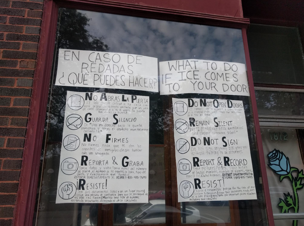 """""""Know Your Rights"""" signs in Pilsen. (Photo: Geoff Hing)"""