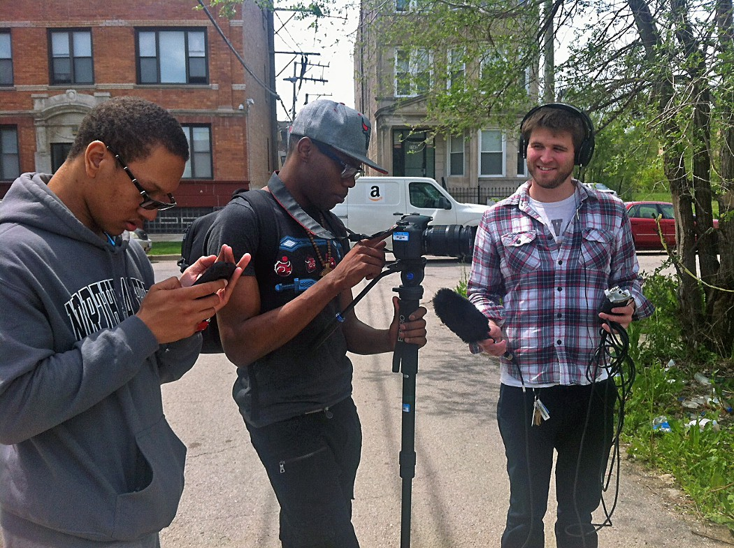 """Johnny Thrower, Ronald Reese and Kel Lyons report on the street while producing """"From North Lawndale, On North Lawndale,"""" audio documentary below."""