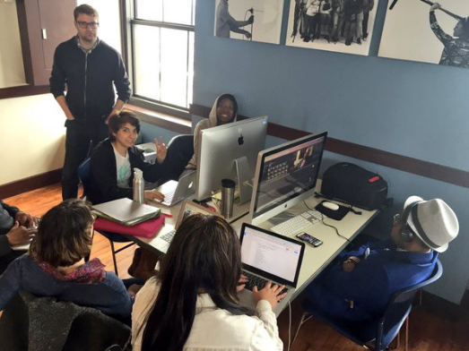 City Bureau and Real Chi Youth journalists at work in their North Lawndale newsroom.