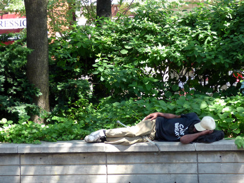 Man sleeping on a ledge in a park