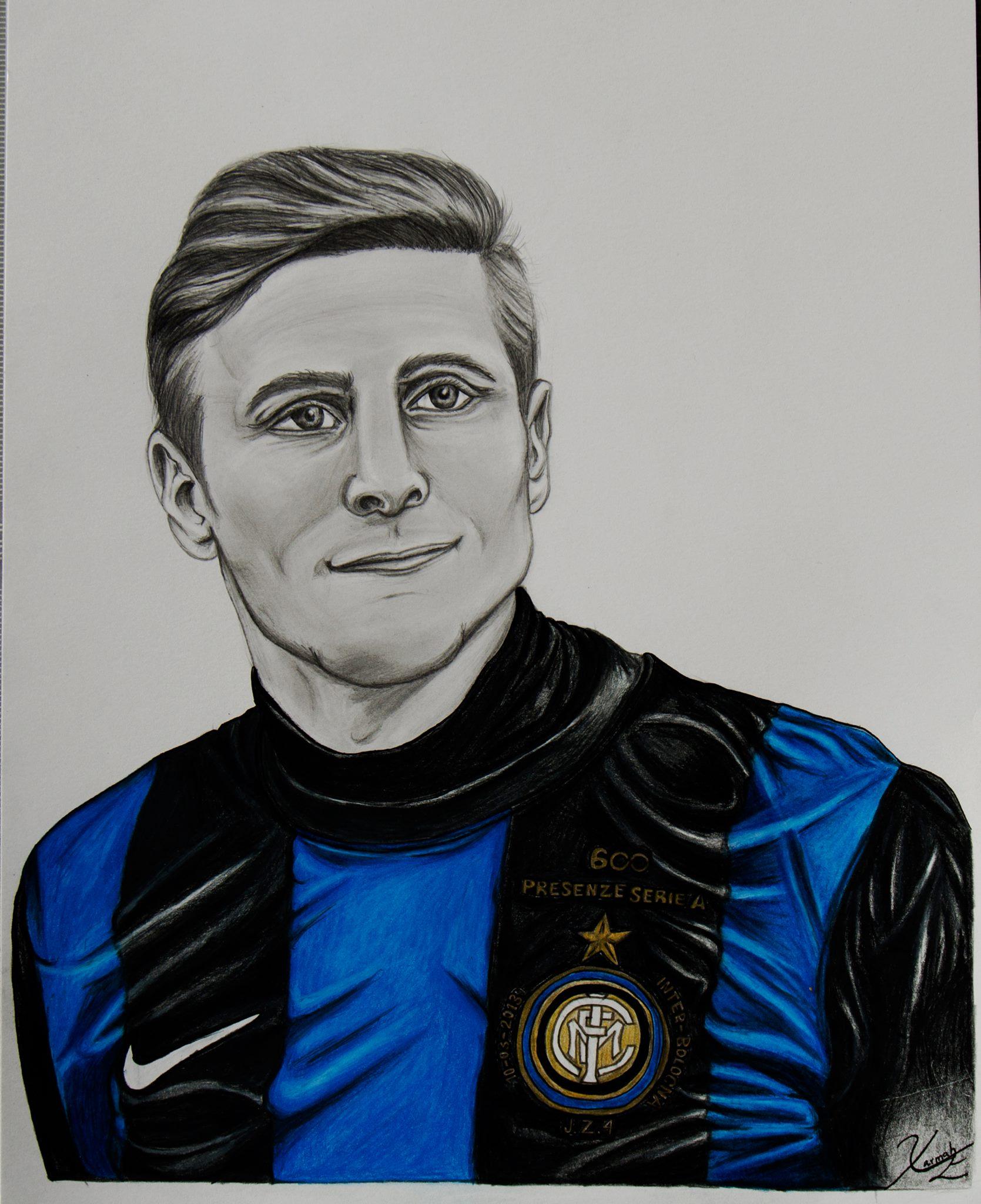 Javier Zanetti    - Graphite and Colored Pencil - 2016