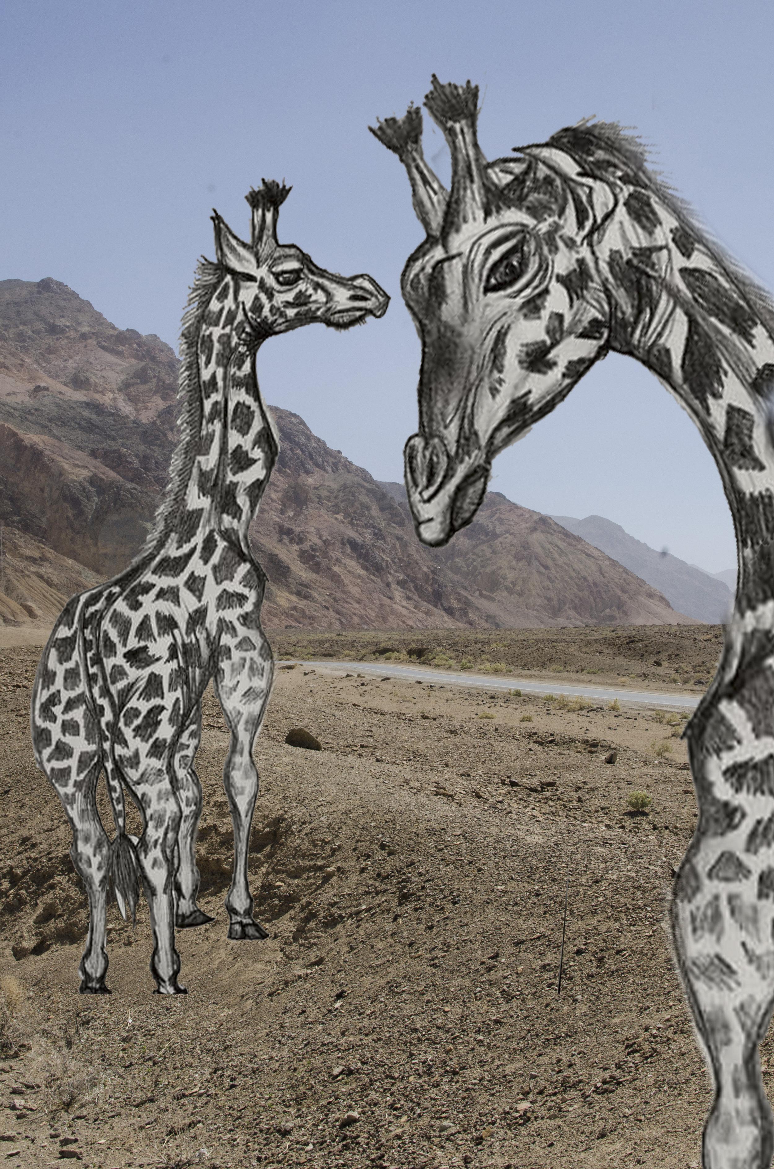 Giraffe Desert    - Mixed Media - 2017
